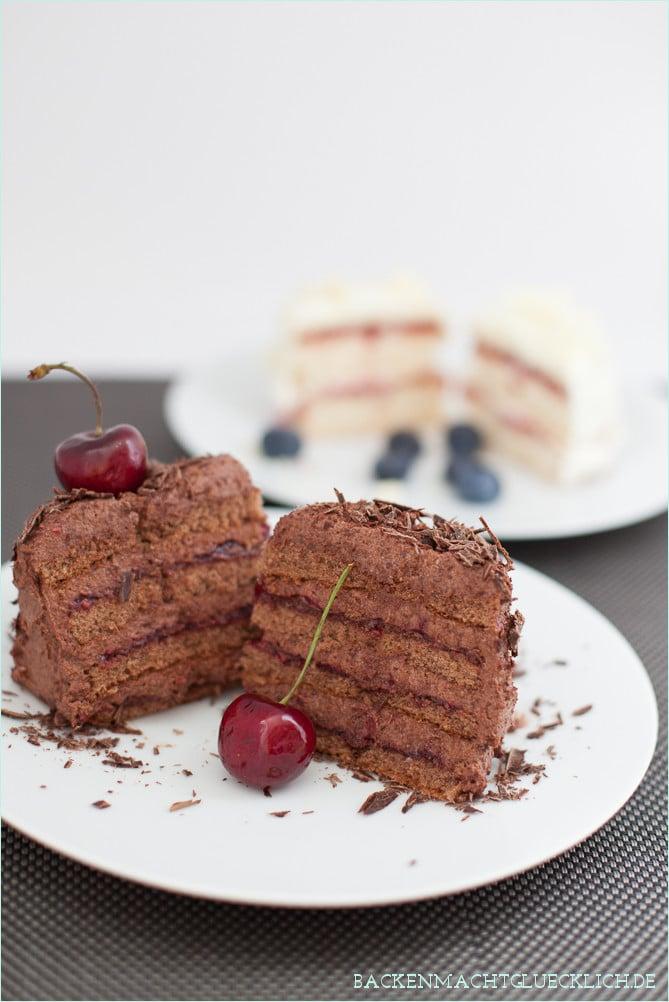 Biskuittoertchen mit Rezept Schokoladensahne