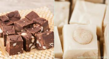 Fudge Rezept mit weißer Schokolade und Zartbitterschokolade