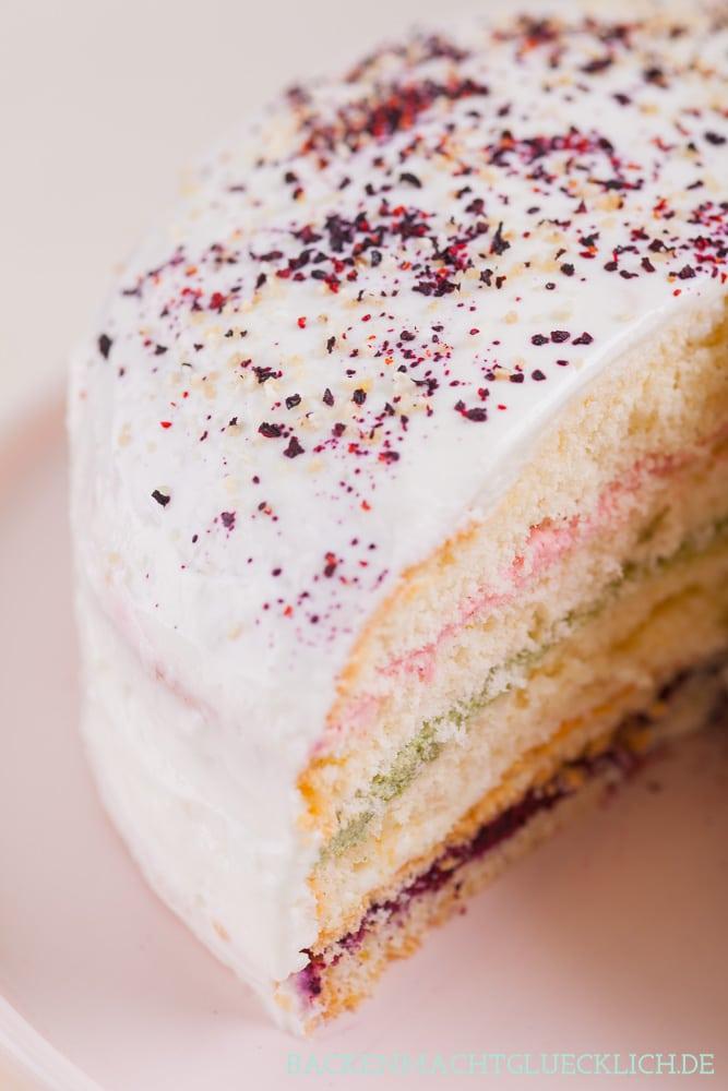 Gesunde Regenbogentorte Healthy Rainbow Cake