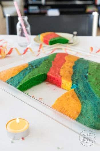 Bunter Blechkuchen Regenbogenkuchen