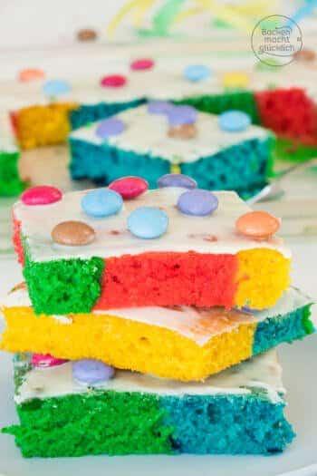 Bunter geburtstagskuchen Regenbogenkuchen