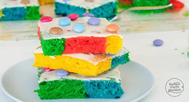 Bunter Regenbogenkuchen Vom Blech Backen Macht Glucklich