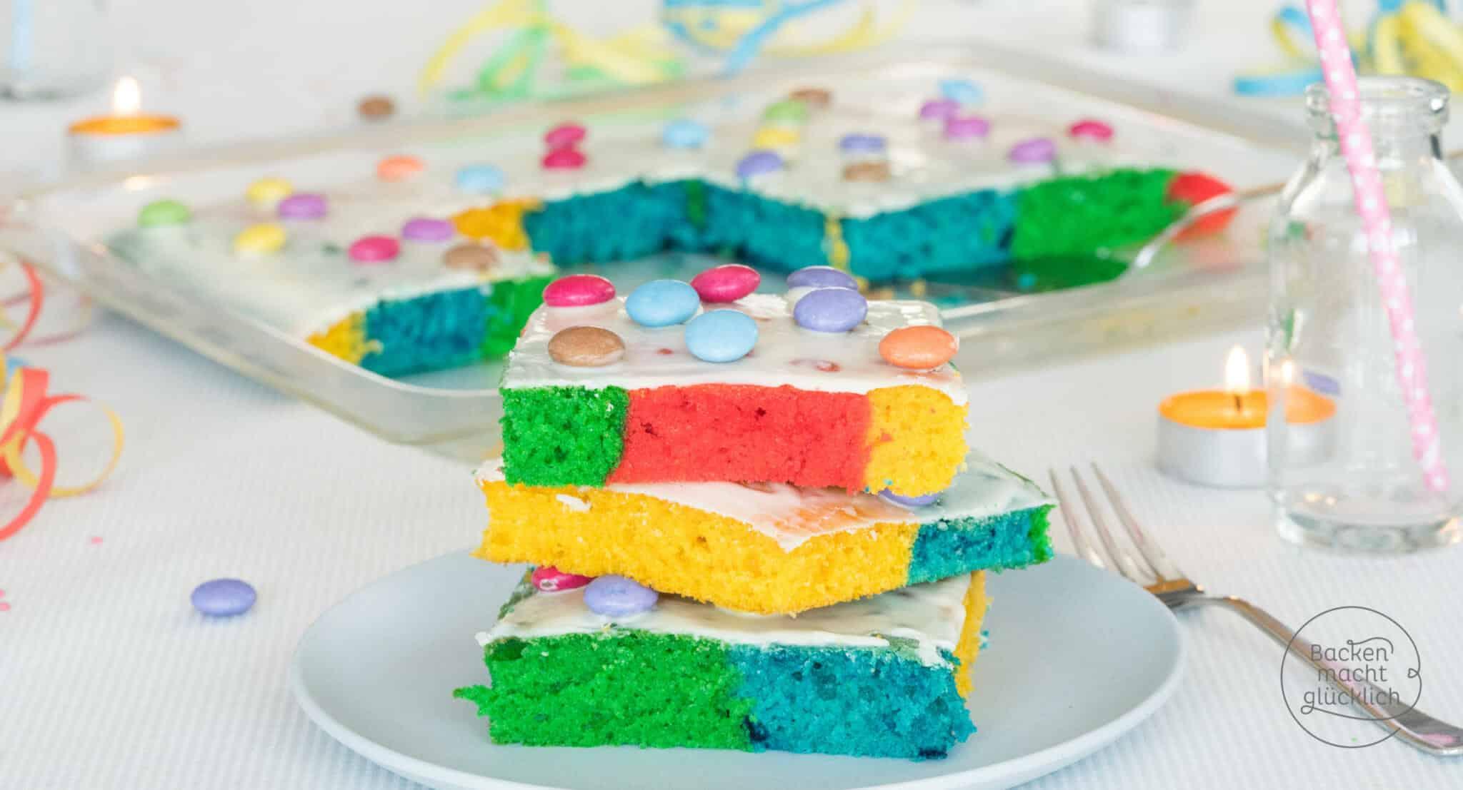 Bunter Regenbogenkuchen vom Blech   Backen macht glücklich