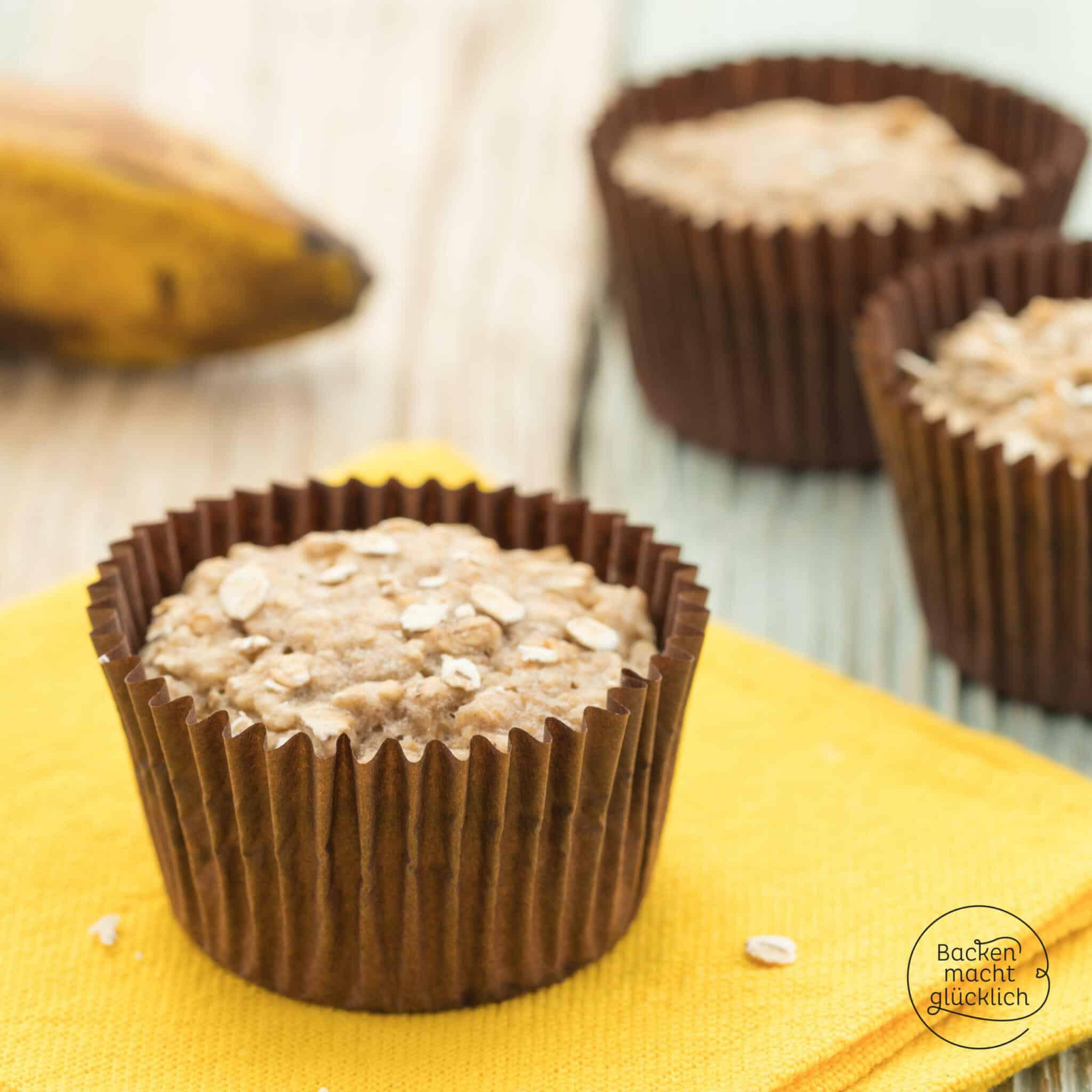 Vegane Bananen-Hafer-Muffins ohne Zucker