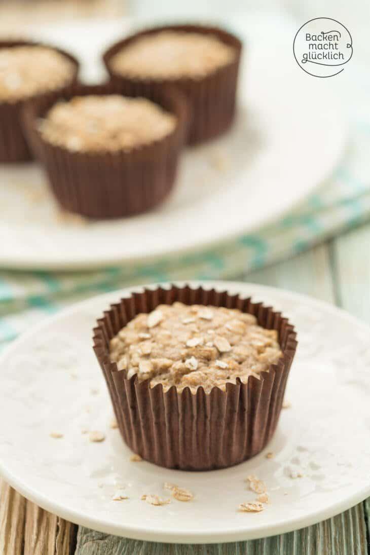 Fettarme Bananen-Hafer-Muffins ohne Zucker