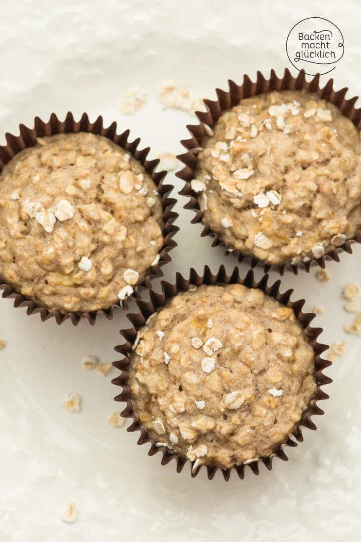 Gesunde Bananen-Haferflocken-Muffins ohne Zucker