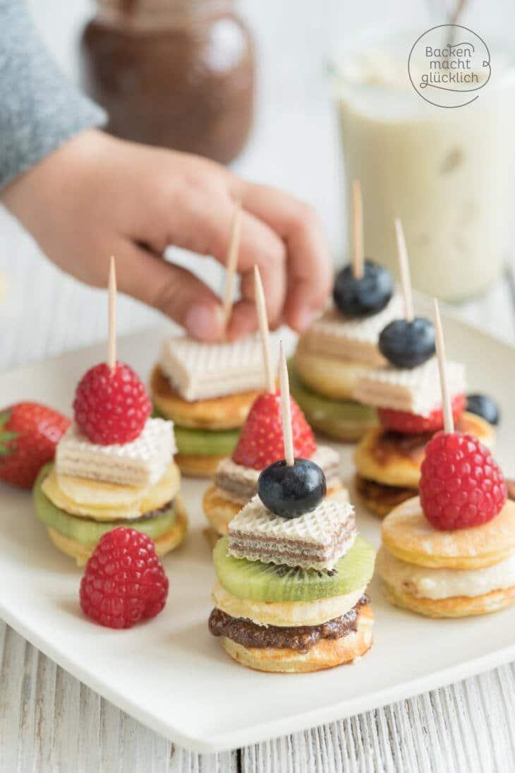 Kindersnack gesunde Pancake-Spiesse