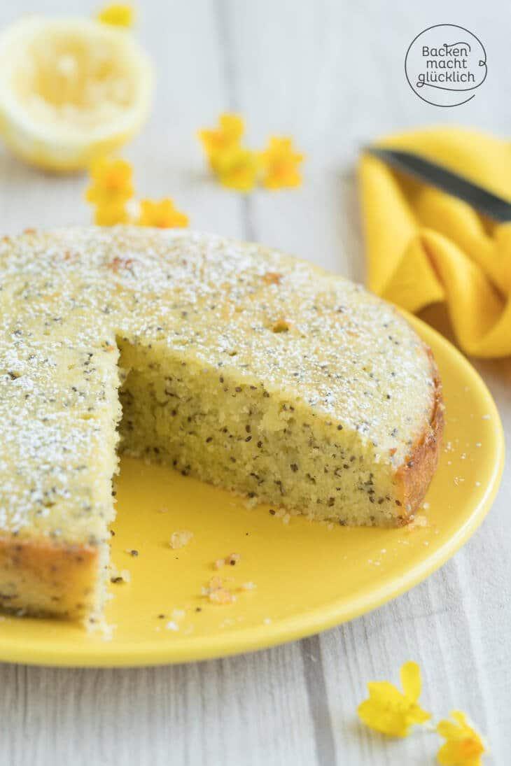 einfacher Zitronenkuchen mit Mohn