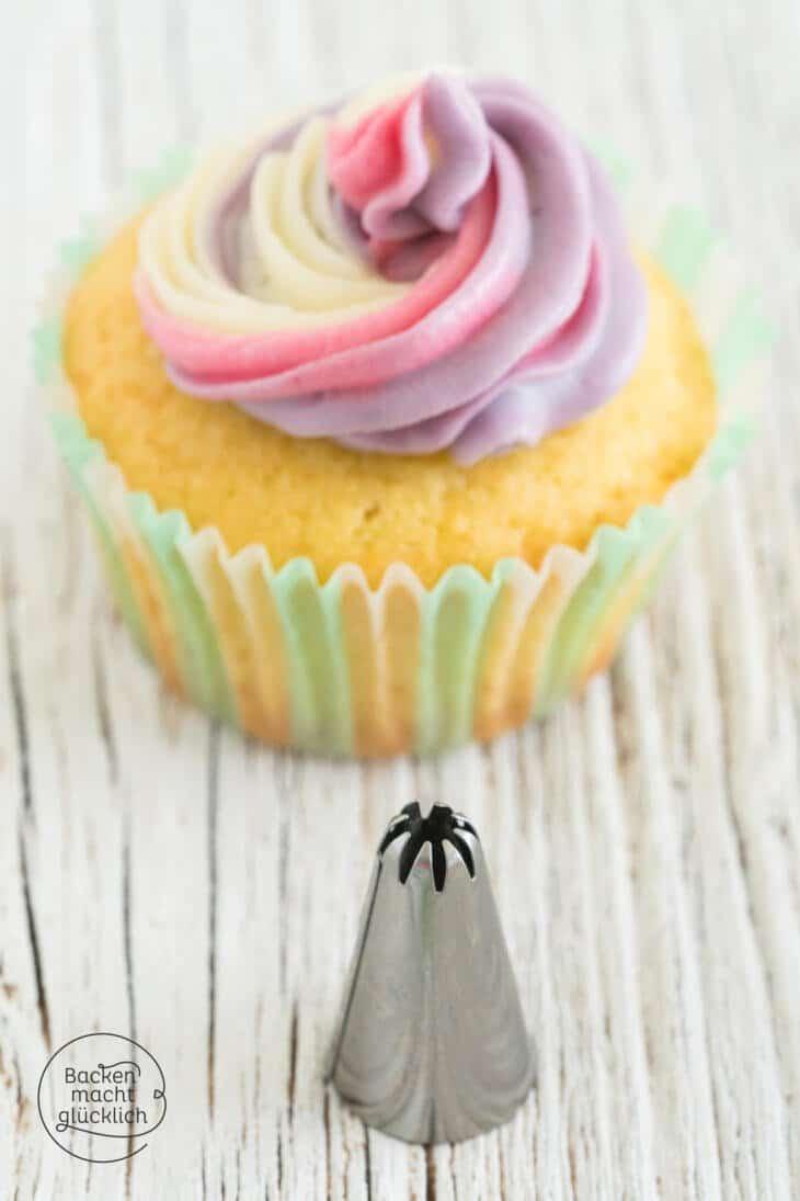 Bunte Cupcake Deko Rainbow Swirl
