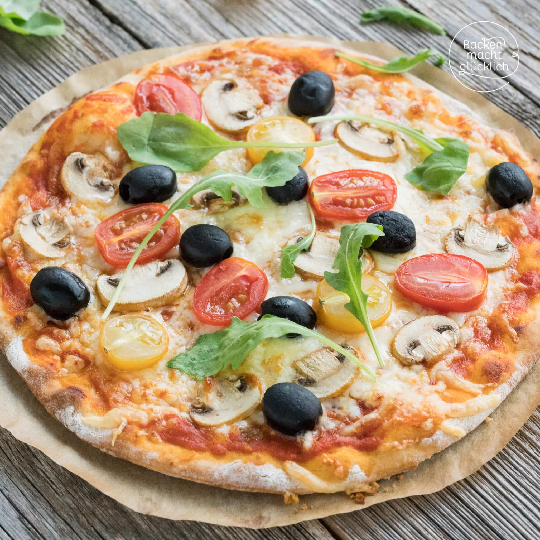 Schneller Pizza Teig ohne Hefe