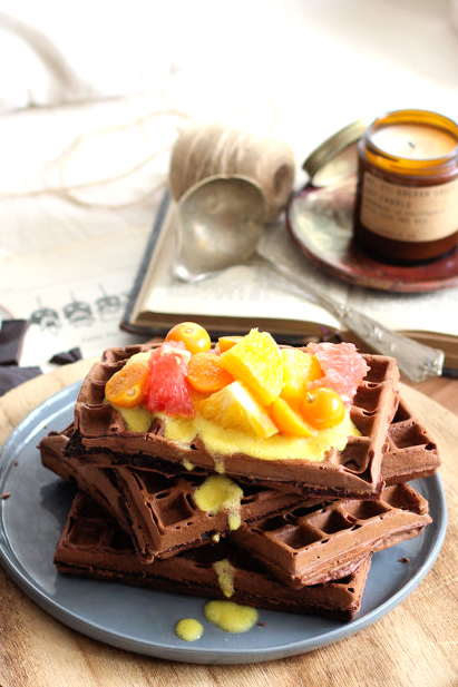 Schokoladenwaffeln mit Kakao