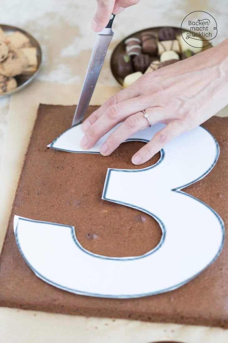 Geburtstags-Zahlenkuchen ohne Form backen