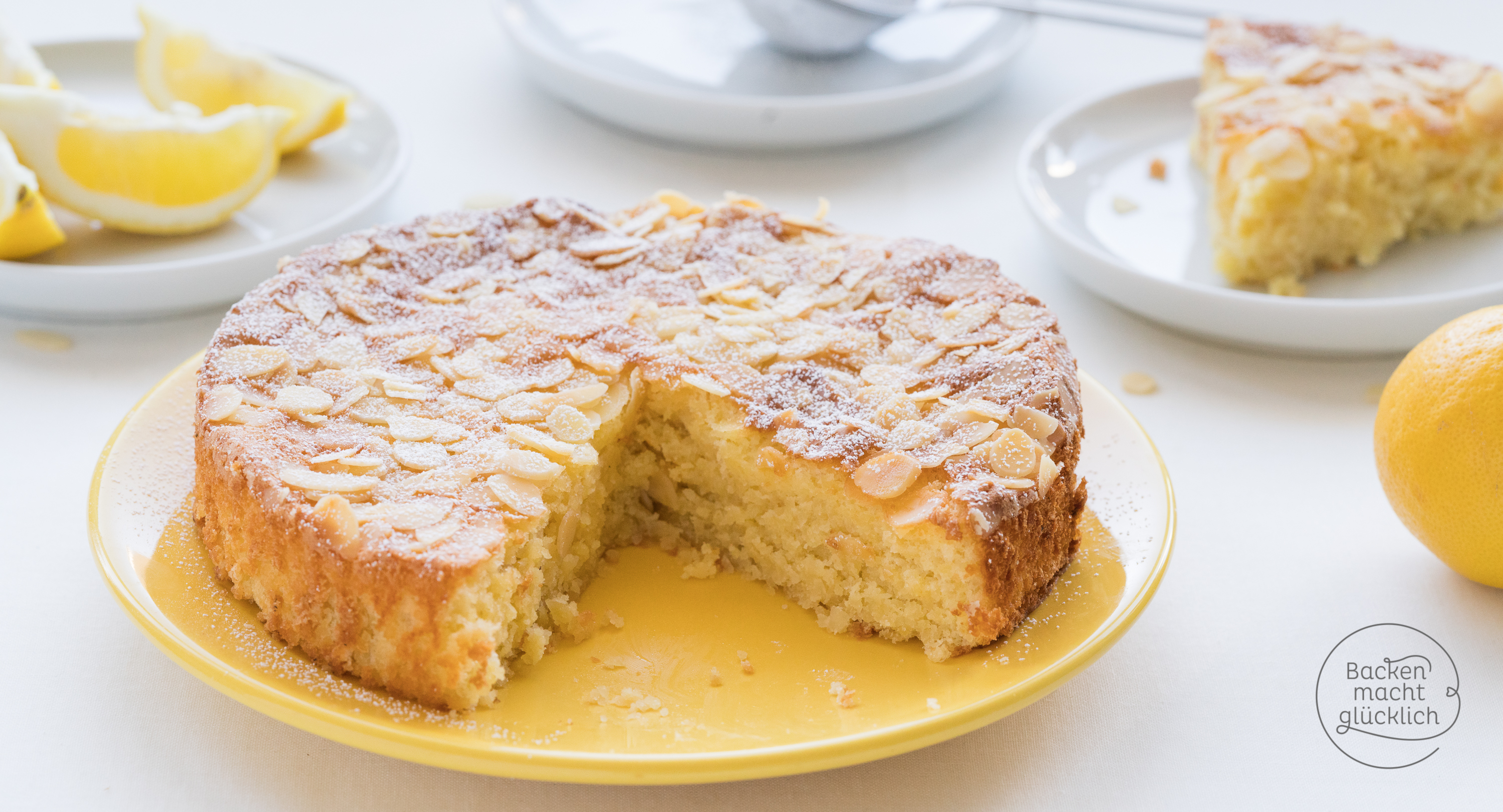 Saftiger Zitronen-Mandel-Kuchen ohne Mehl | Backen macht ...