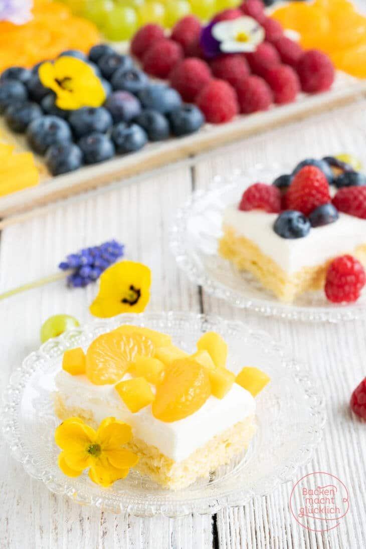 Obstkuchen Blech mit Biskuitboden