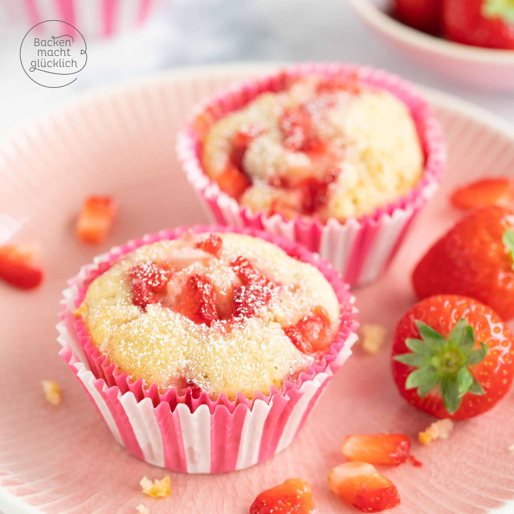 Erdbeermuffins mit Buttermilch und Schokolade