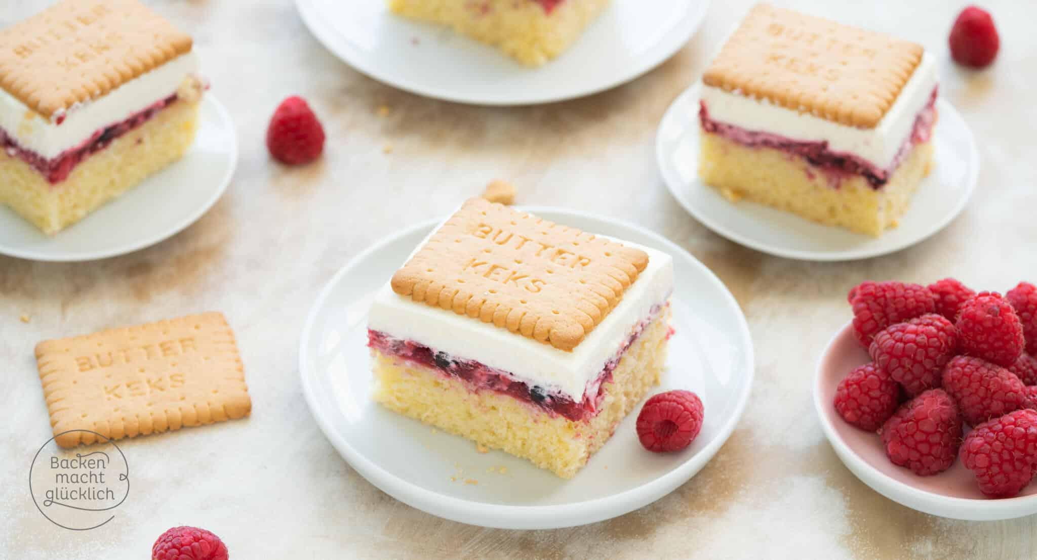 Butterkeks-Kuchen mit Beeren  Backen macht glücklich