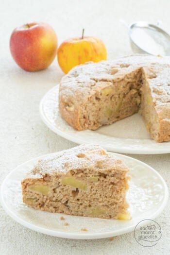 gesunder zuckerfreier Apfelkuchen vegan