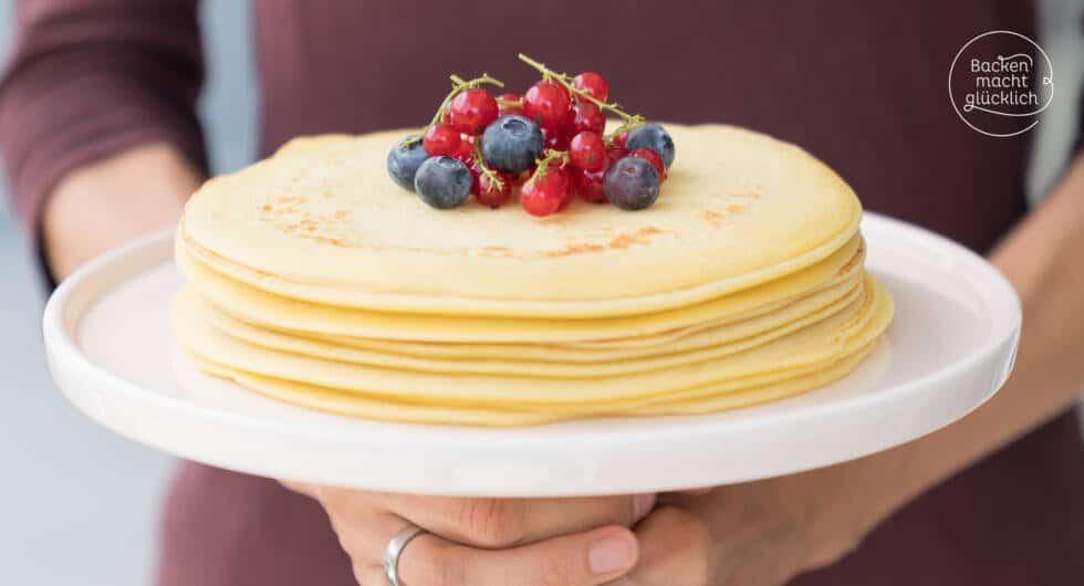 Einfaches Pfannkuchen Grundrezept Backen Macht Glücklich
