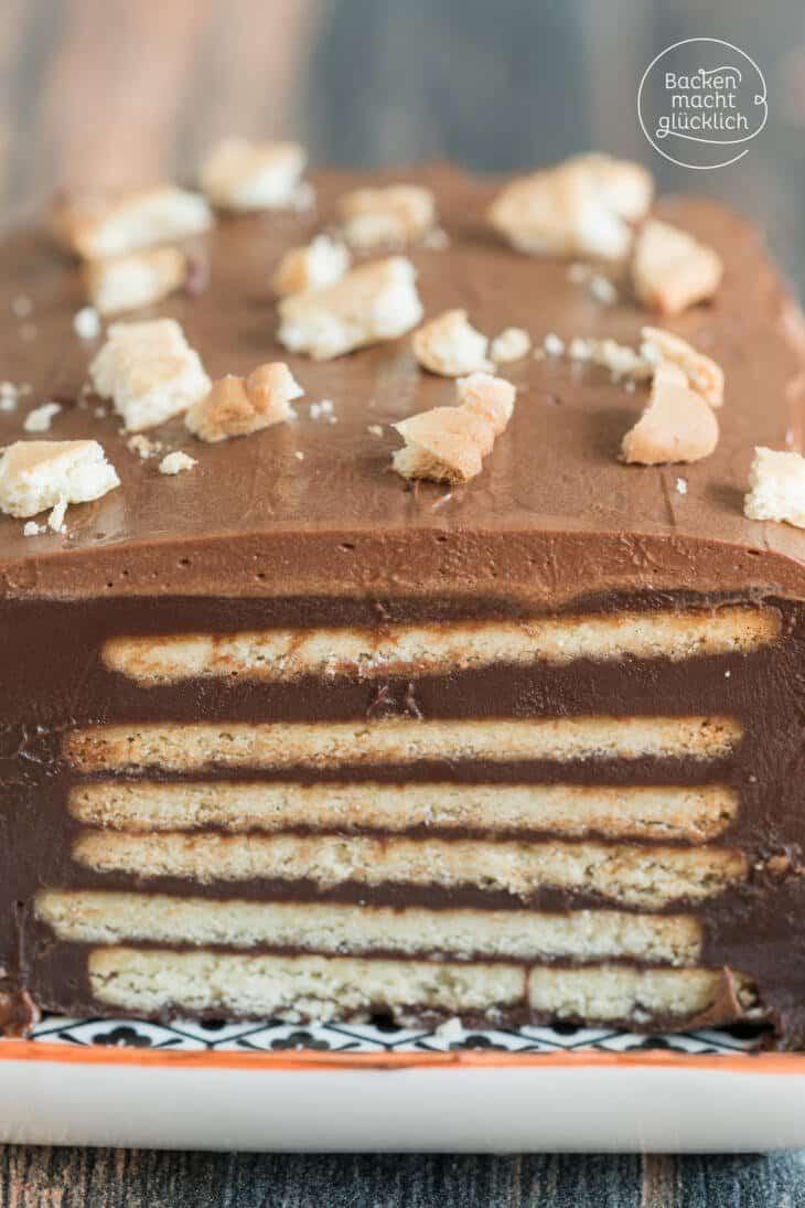 Schoko-Keks-Kuchen ohne Backen