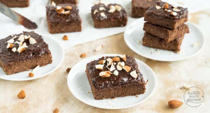 vegane zuckerfreie Süßkartoffel-Brownies