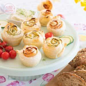 Herzhafte Blätterteigrosen Muffins