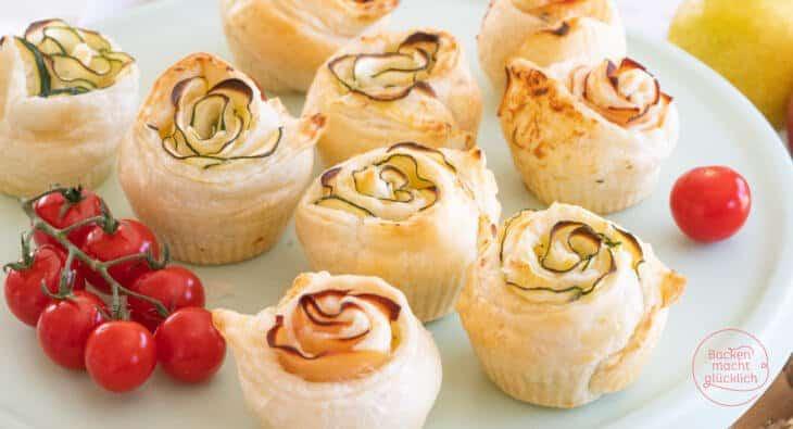 Pikante Rosenmuffins mit Blätterteig