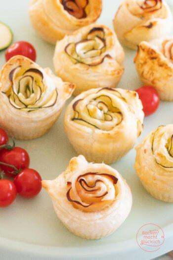 Rosenmuffins aus Blätterteig pikant