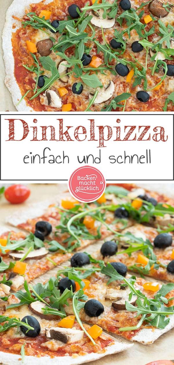 Ein einfaches Grundrezept für eine knusprige Vollkorn-Pizza vom Blech oder vom Pizzastein. Die gesunde Dinkelpizza lässt sich nach Belieben belegen und schmeckt auf jeden Fall der ganzen Familie. #pizza #vollkornpizza  #pizzateig #trockenhefe #dinkelpizza #backenmachtglücklich