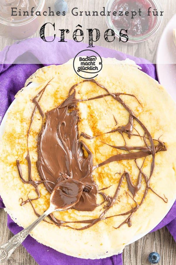 Das leckere Rezept für Crêpes-Teig lässt sich ganz einfach zu Hause nachmachen. Damit könnt ihr perfekte Crêpes wie vom Jahrmarkt auf den Küchentisch zaubern – ganz egal, ob mit frischen Früchten, Schokolade oder Marmelade. #crepes #crepesrezept #crepesrezeptteig #backenmachtglücklich