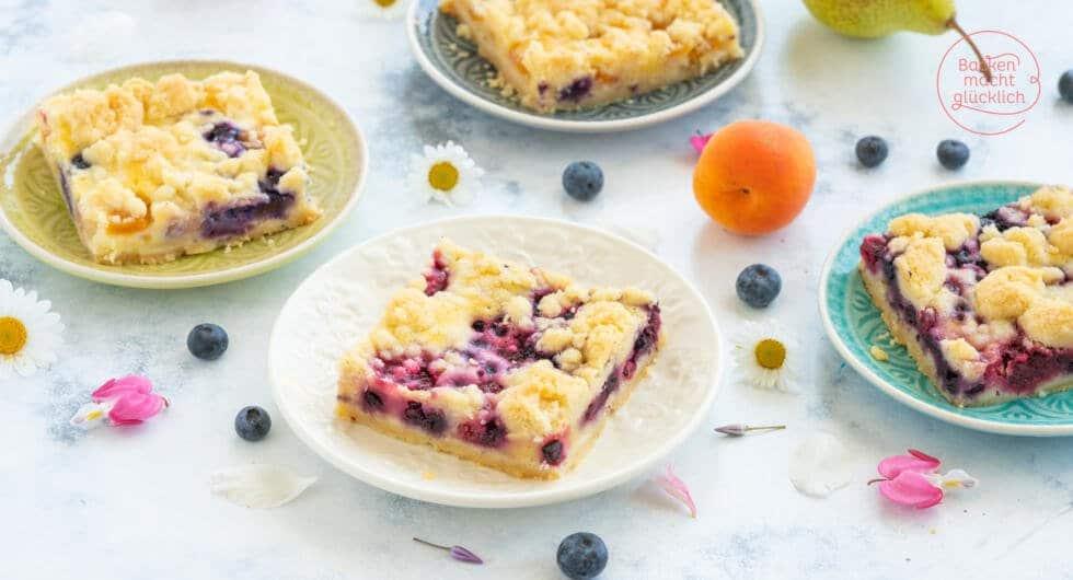 Obstkuchen mit Streusel vom Blech