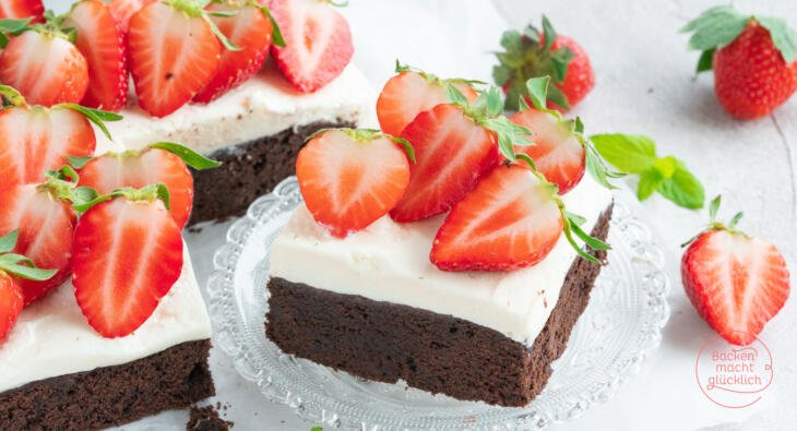 Brownies mit Erdbeeren