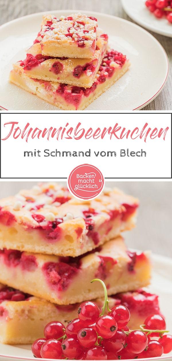 Einfacher, schneller Blechkuchen mit Johannisbeeren, der sich gut vorbereiten und auch einfrieren lässt. Der Johannisbeerkuchen mit Schmand kommt immer gut an