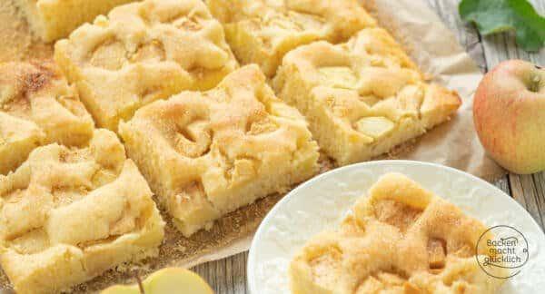 Apfelkuchen vom Blech Rührteig