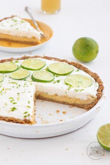 Limetten Pie mit Keksboden