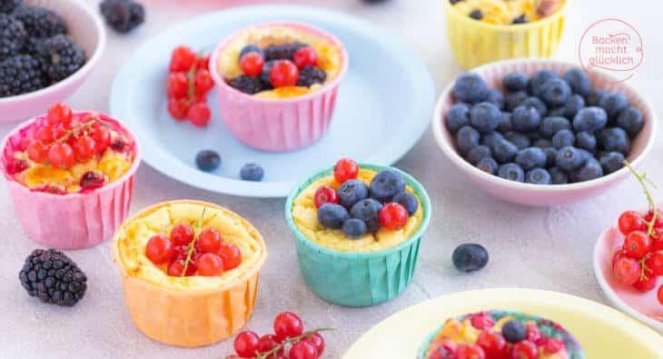 Käsekuchen Muffin ohne Zucker und Mehl