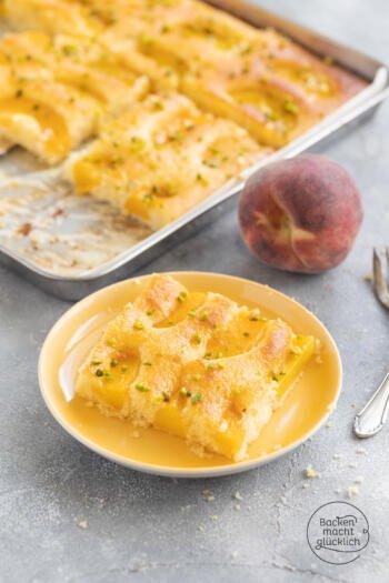 Omas saftiger Pfirsichkuchen vom Blech